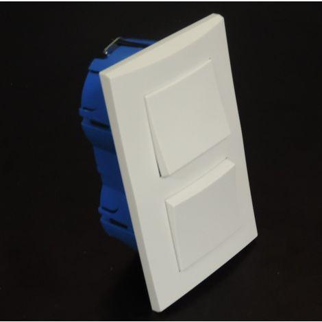 Kit encastré de 2 inters V&V 10A verticale avec plaque blanche et boite placo entraxe 57mm spécial renovation pret à poser