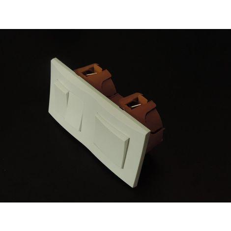Kit encastré inter V&V + double V&V 10A horizontal avec plaque blanche et boite placo spécial renovation pret à poser