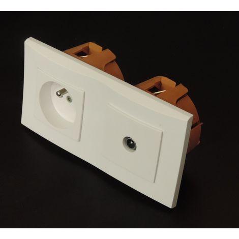 Kit encastré prise 2P+T 16A + prise TV horizontal avec plaque blanche et boite placo spécial renovation pret à poser