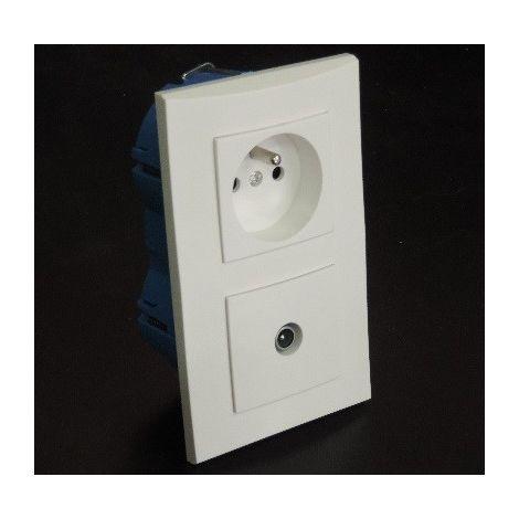 Kit encastré prise 2P+T 16A + Prise TV verticale avec plaque blanche et boite placo entraxe 57mm spécial renovation pret à poser