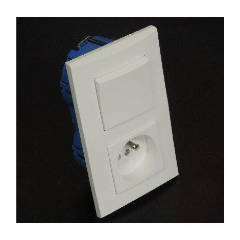 Kit encastré V&V + prises 2P+T 16A verticale avec plaque blanche et boite placo entraxe 57mm spécial renovation pret à poser