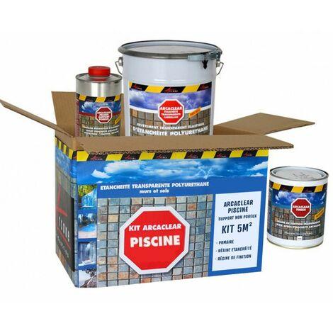 Etanchéité Piscine Carrelée - Résine Transparente  - KIT ARCACLEAR PISCINE - ARCANE INDUSTRIES - Transparent - kit 5 m² support non poreux