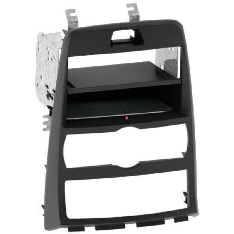 Kit Facade 2DIN compatible avec Hyundai Genesis 10-13 Avec vide poche Induction Qi Noir