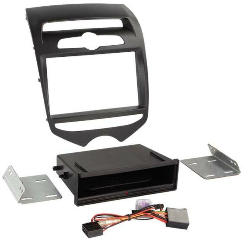 Kit Facade 2DIN compatible avec Hyundai ix20 ap10 Vide poche Induction Qi Noir mat Clim