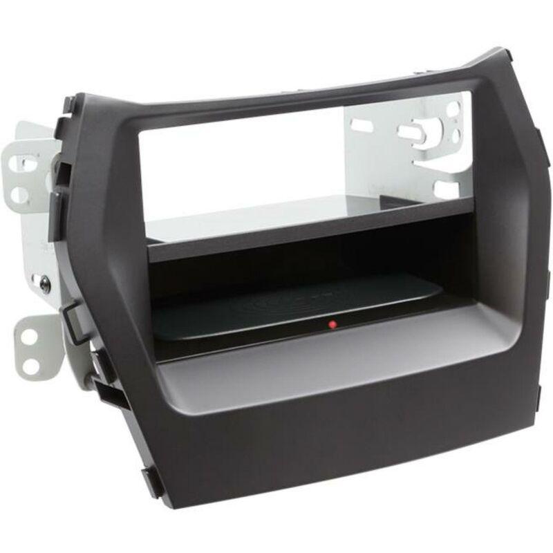 Kit Facade 2DIN compatible avec Hyundai Santa Fe ap12 Avec vide poche Induction Qi Noir