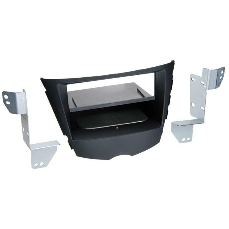Kit Facade 2DIN compatible avec Hyundai Veloster ap11 Avec vide poche Induction Qi Noir