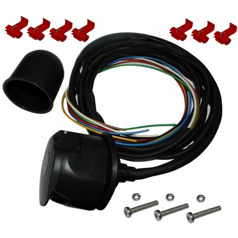 Kit faisceau prise fiche de remorque câble 2m câblage attelage 7pin 12V cache boule rotule laiton