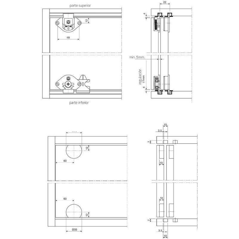 Kit Ante Scorrevoli Per Armadi A Muro.Kit Ferramenta Scorrevole Per Armadio 2 Ante 50kg Anta Opzione