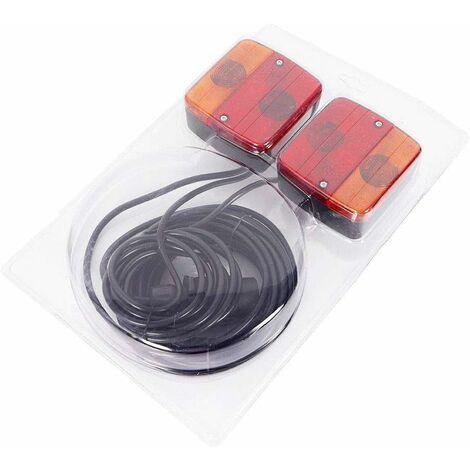 Kit Feux Arrière LumièRe de Remorque MagnéTique Point Culminant Feux ArrièRe Cable de Tracteur LED avec Pied Magnétique Eéclairage de Remorque pour la Circulation Routière
