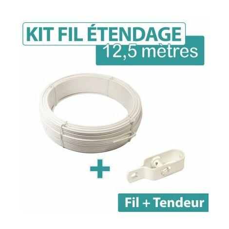 Kit fil d'étendage plastifié blanc 2 mm + 1 tendeur N°2