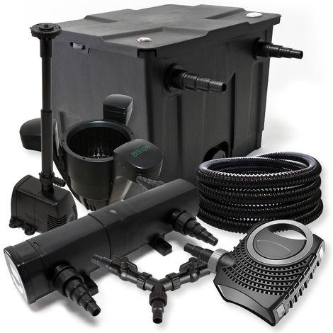 Kit Filtración de estanques 12000L 24W Clarificador neo800070W bomba 25m tubo skimmer SK40fuente