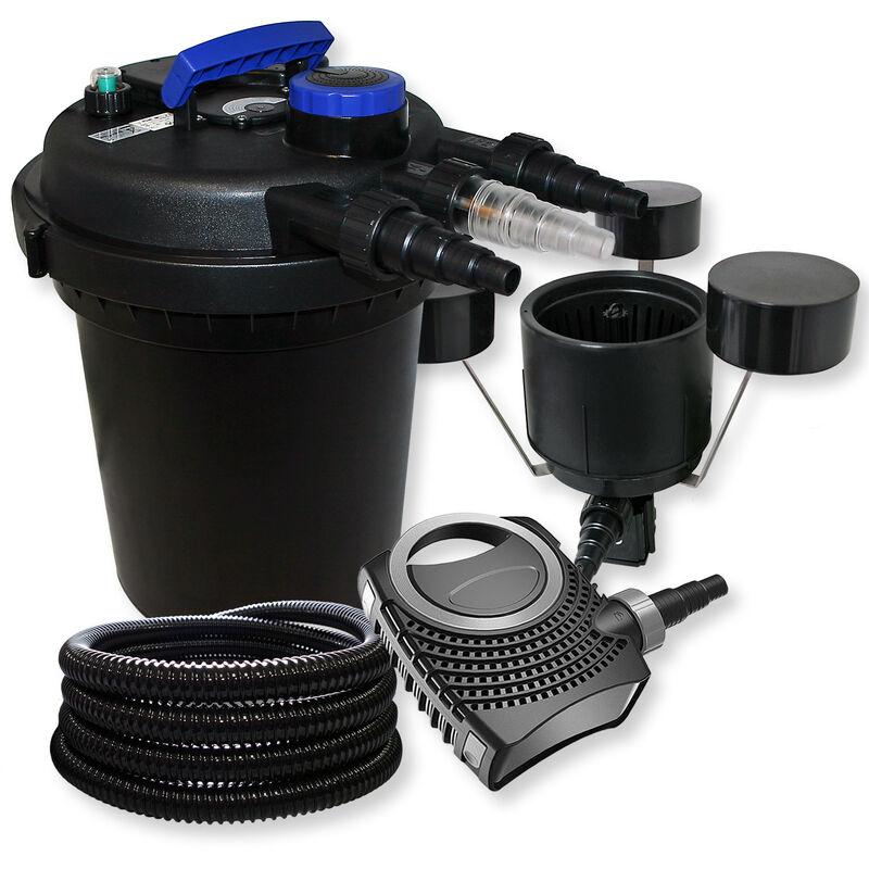 Wiltec - SunSun Kit filtration bassin à pression 6000l 11W UVC NEO8000 70W Pompe 25m Tuyau Skimmer CSP-250