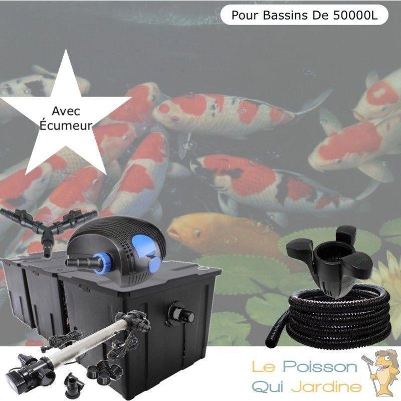 Kit Filtration Complet, 110W, Acier Inoxydable, Écumeur Bassins 50000L - LE POISSON QUI JARDINE
