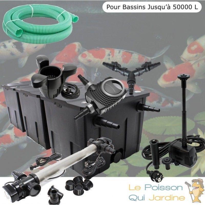 Kit Filtration Complet, 110W, Acier Inoxydable + Écumeur, Fontaine, 50000L - LE POISSON QUI JARDINE