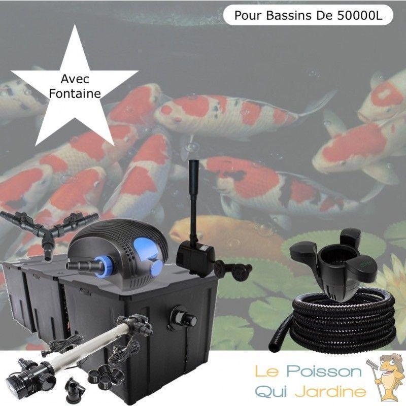 Le Poisson Qui Jardine - Kit Filtration Complet, 110W, Acier Inoxydable + Fontaine, Bassins De 50000 L