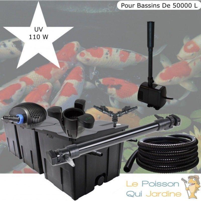 Kit Filtration Complet, UV 110W, Écumeur, Fontaine Pour Bassin De 50000 L - LE POISSON QUI JARDINE