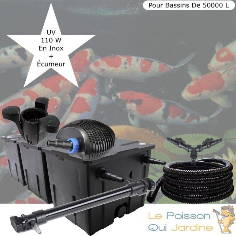 Le Poisson Qui Jardine - Kit Filtration Complet, UV 110W, Écumeur, Pour Bassins De 50000 L