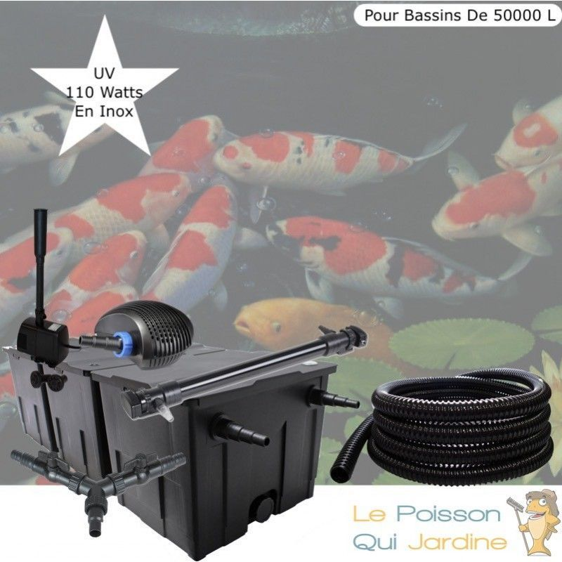 Le Poisson Qui Jardine - Kit Filtration Complet, UV 110W, Fontaine Pour Bassins De 50000 L