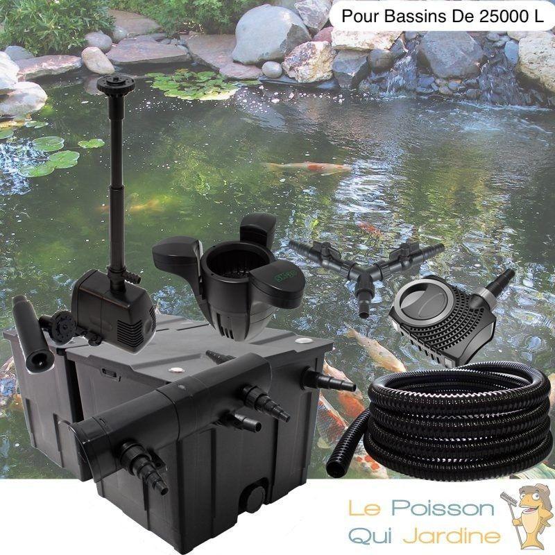 Kit Filtration Complet, UV 18W + Écumeur + Fontaine Pour Bassins De 25000 L - LE POISSON QUI JARDINE