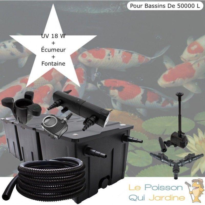 Kit Filtration Complet, UV 18W + Écumeur Et Fontaine, Pour Bassins De 50000 L - LE POISSON QUI JARDINE