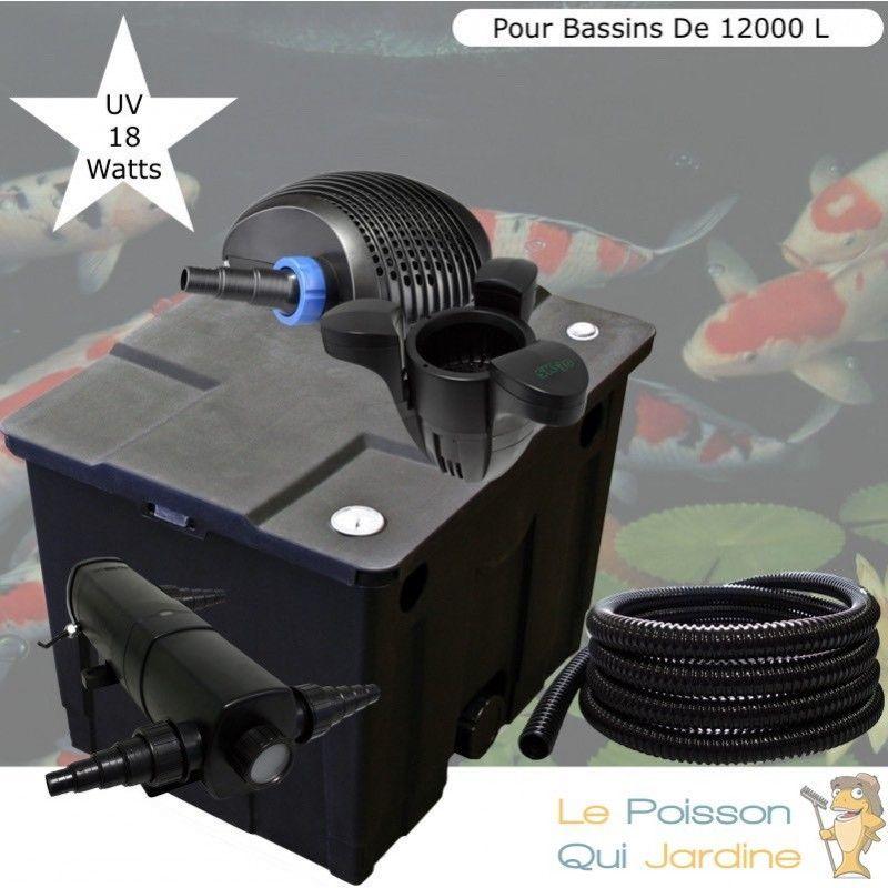 Kit Filtration Complet, UV 18W + Écumeur Pour Bassins De 12000 L - LE POISSON QUI JARDINE