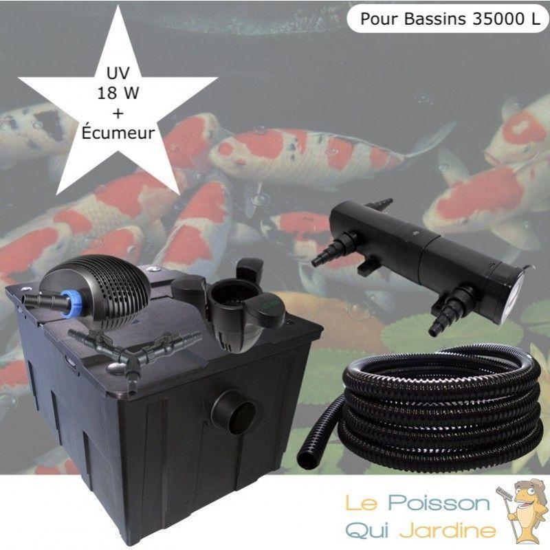 Kit Filtration Complet, UV 18W + Écumeur Pour Bassins De 35000 L - LE POISSON QUI JARDINE