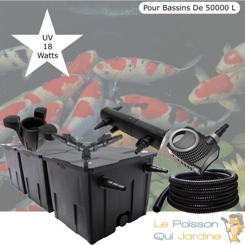 Kit Filtration Complet, UV 18W + Écumeur Pour Bassins De 50000 L - LE POISSON QUI JARDINE
