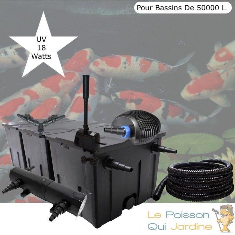 Kit Filtration Complet, UV 18W + Fontaine Pour Bassins De 50000 L - LE POISSON QUI JARDINE