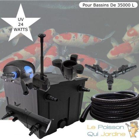 Kit Filtration Complet 24W + Écumeur Et Fontaine, Bassins De 35000 L
