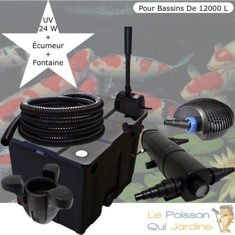 Kit filtration complet 24W + écumeur et fontaine pour bassins de 12000 l - LE POISSON QUI JARDINE