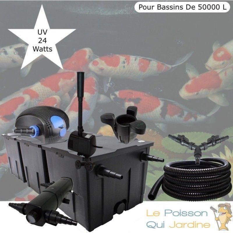 Kit Filtration Complet, UV 24W + Écumeur Et Fontaine, Pour Bassins De 50000 L - LE POISSON QUI JARDINE
