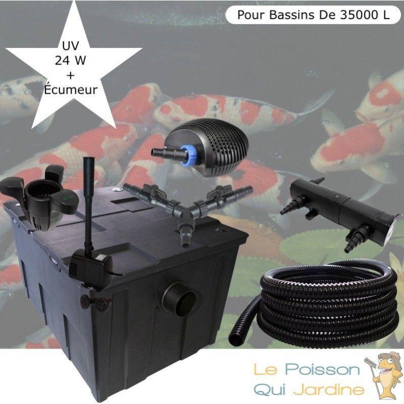 Kit Filtration Complet, UV 24W + Écumeur Pour Bassins De 35000 L - LE POISSON QUI JARDINE
