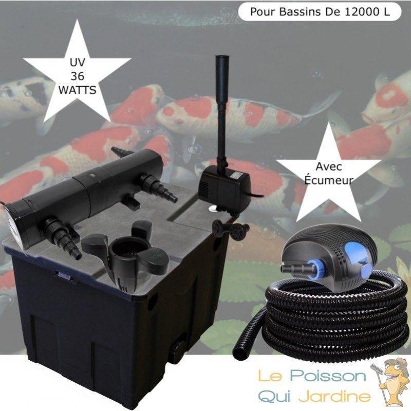 Kit Filtration Complet, UV 36W + Écumeur Et Fontaine, Pour Bassins De 12000 L - LE POISSON QUI JARDINE