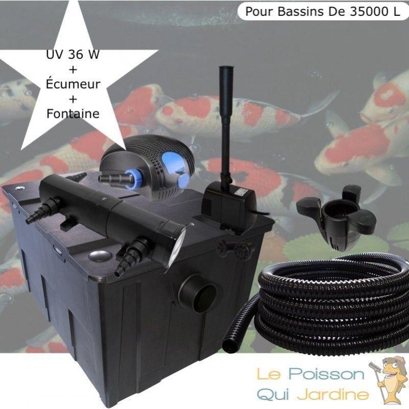 Kit Filtration Complet, UV 36W + Écumeur, Fontaine Pour Bassins De 35000 L - LE POISSON QUI JARDINE