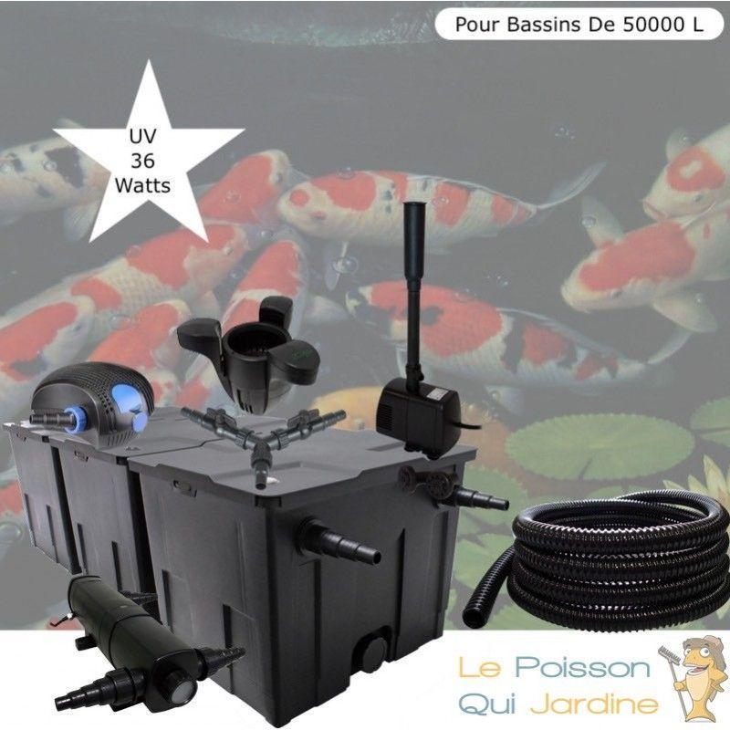 Kit Filtration Complet, UV 36W + Écumeur Et Fontaine, Pour Bassins De 50000 L - LE POISSON QUI JARDINE
