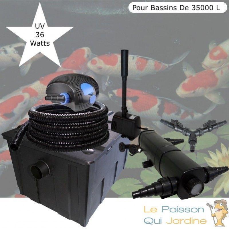 Kit Filtration Complet, UV 36W + Fontaine Pour Bassins De 35000 L - LE POISSON QUI JARDINE