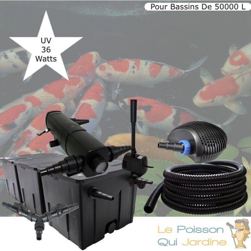 Kit Filtration Complet, UV 36W + Fontaine Pour Bassins De 50000 L - LE POISSON QUI JARDINE