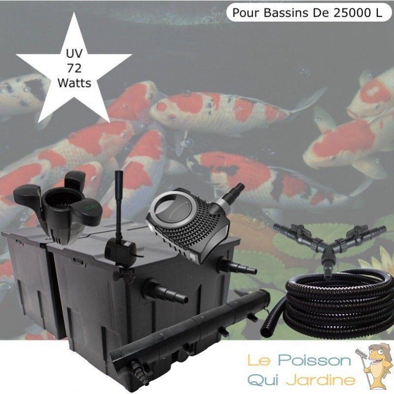 Kit filtration complet, UV 72W + Écumeur, Fontaine Pour Bassins De 25000 L - LE POISSON QUI JARDINE