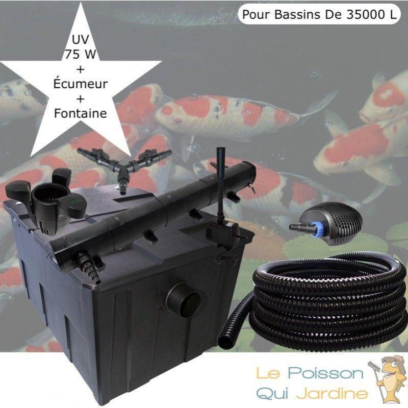 Kit Filtration Complet, UV 72W + Écumeur, Fontaine Pour Bassins De 35000 L - LE POISSON QUI JARDINE