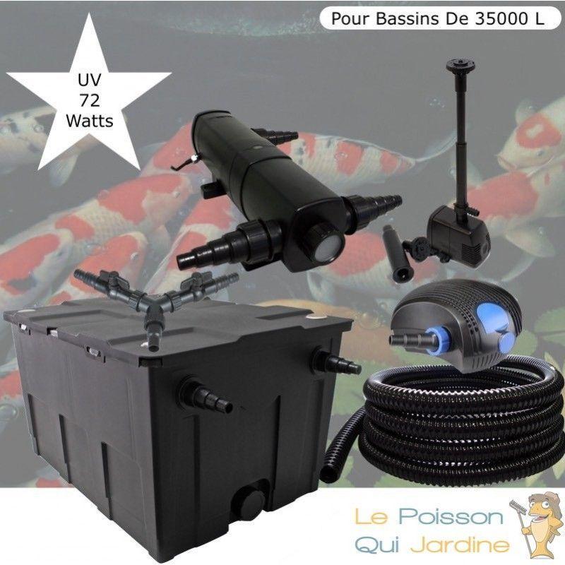 Kit Filtration Complet, UV 72W + Fontaine Pour Bassins De 35000 L - LE POISSON QUI JARDINE