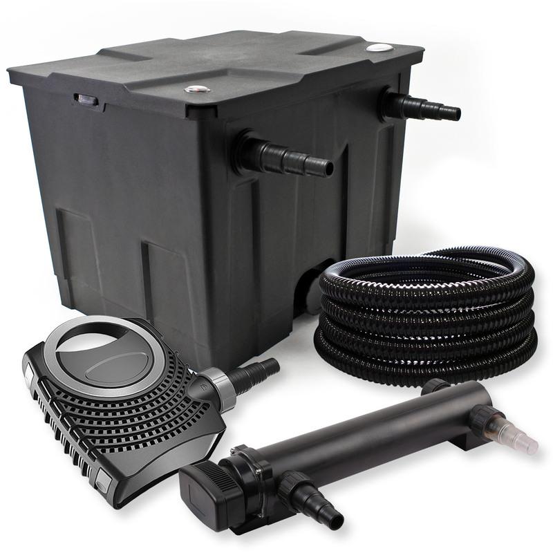 Wiltec - SunSun Kit de filtration de bassin 12000l 24W UVC 3. Stérilisateur NEO8000 70W Pompe Tuyau