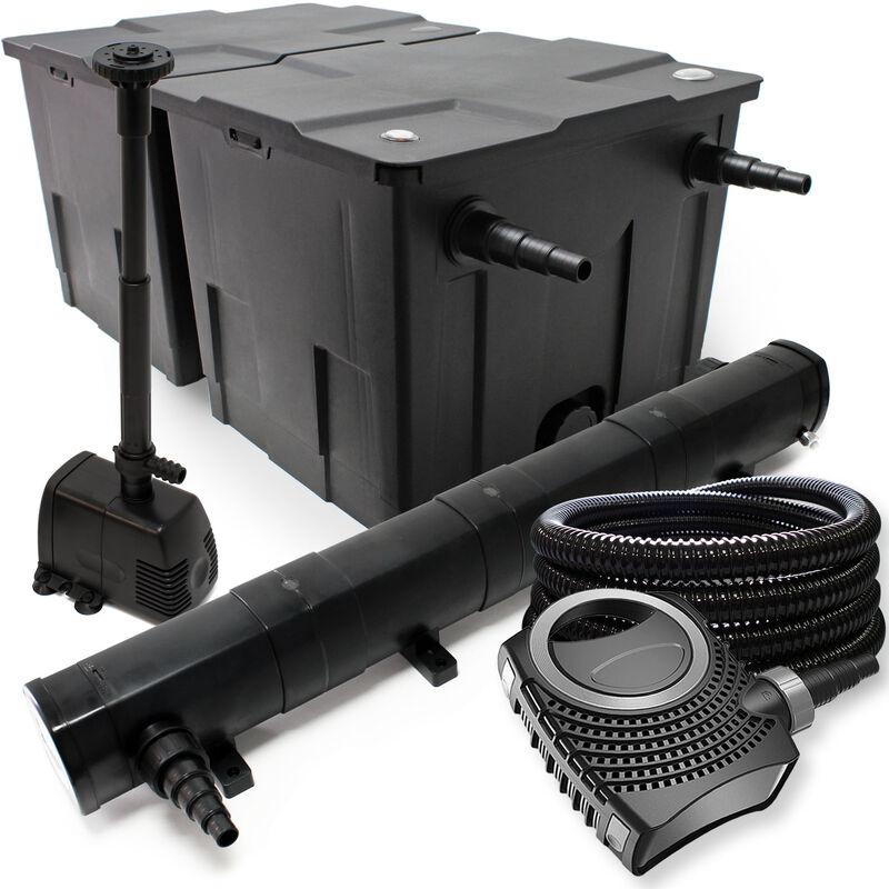 Wiltec - Kit de filtration avec Bio Filtre 60000l, 72W Stérilisateur, 80W Pompe, Tuyau et Pompe de Fontaine
