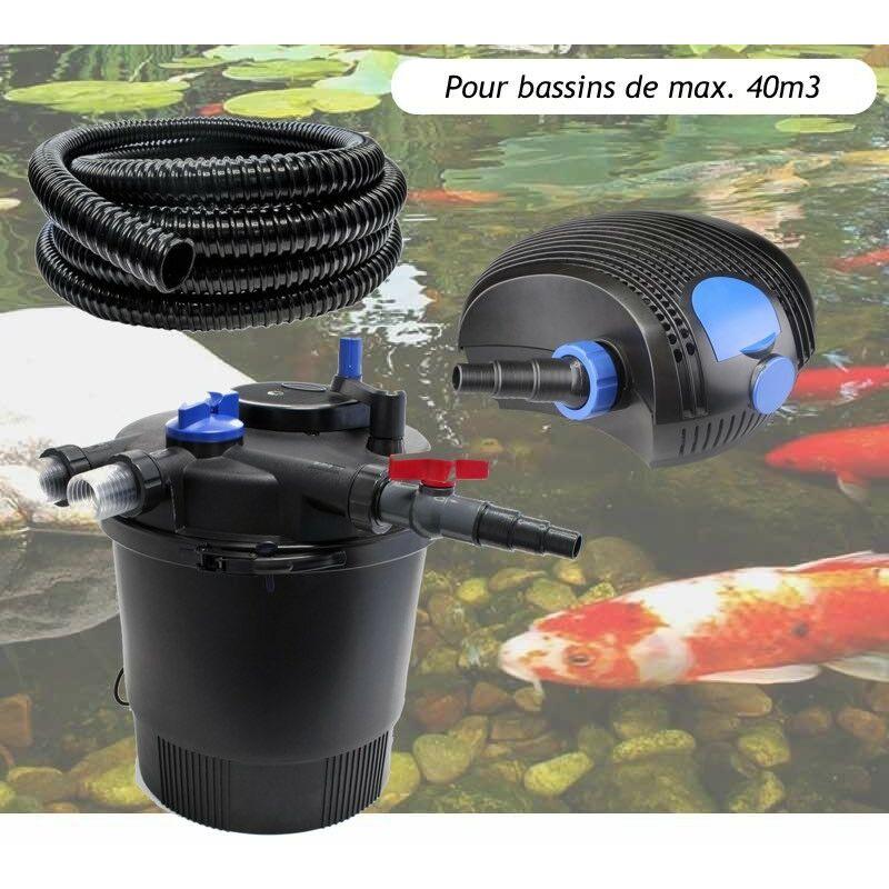 Kit Filtration Pression UV 36W, Pompe, Tuyau Pour Bassins De 40000 L