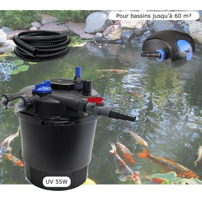 Kit Filtration Pression UV 55W, Pompe, Tuyau, Pour Bassins De 60000 L