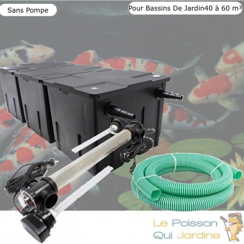 Kit Filtration, UV 110W, Acier Inoxydable SANS Pompe, Pour Bassin : 40 à 60 m³ - LE POISSON QUI JARDINE