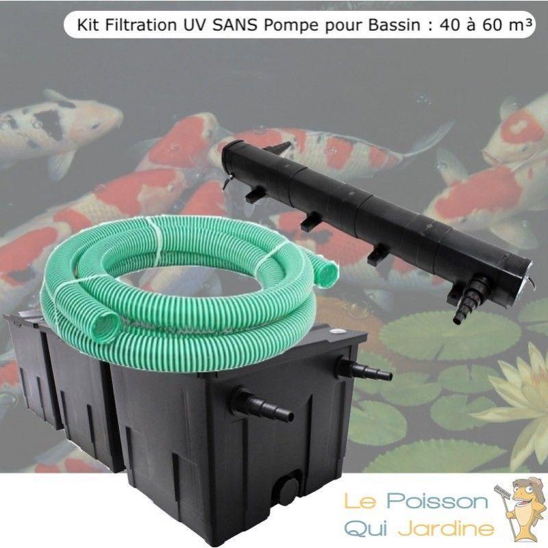 Kit Filtration UV SANS Pompe pour Bassin : 40 à 60 m³ - LE POISSON QUI JARDINE