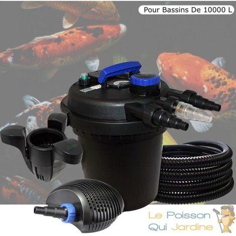 Kit Filtre Pression, 11W Complet + Écumeur Pour Bassins De 10000 L