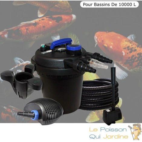 Kit Filtre Pression 11W Complet + Fontaine Et Écumeur Pour Bassins De 10000 L