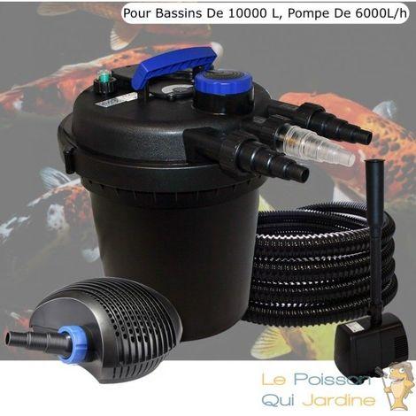 Kit Filtre Pression 11W Complet + Fontaine, Pompe 6000 L/H, Pour Bassins De 10000 L