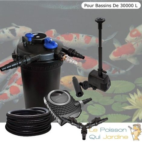 Kit Filtre Pression 18W + fontaine, Bassins De 30000 L, Pompe 10000 l/h
